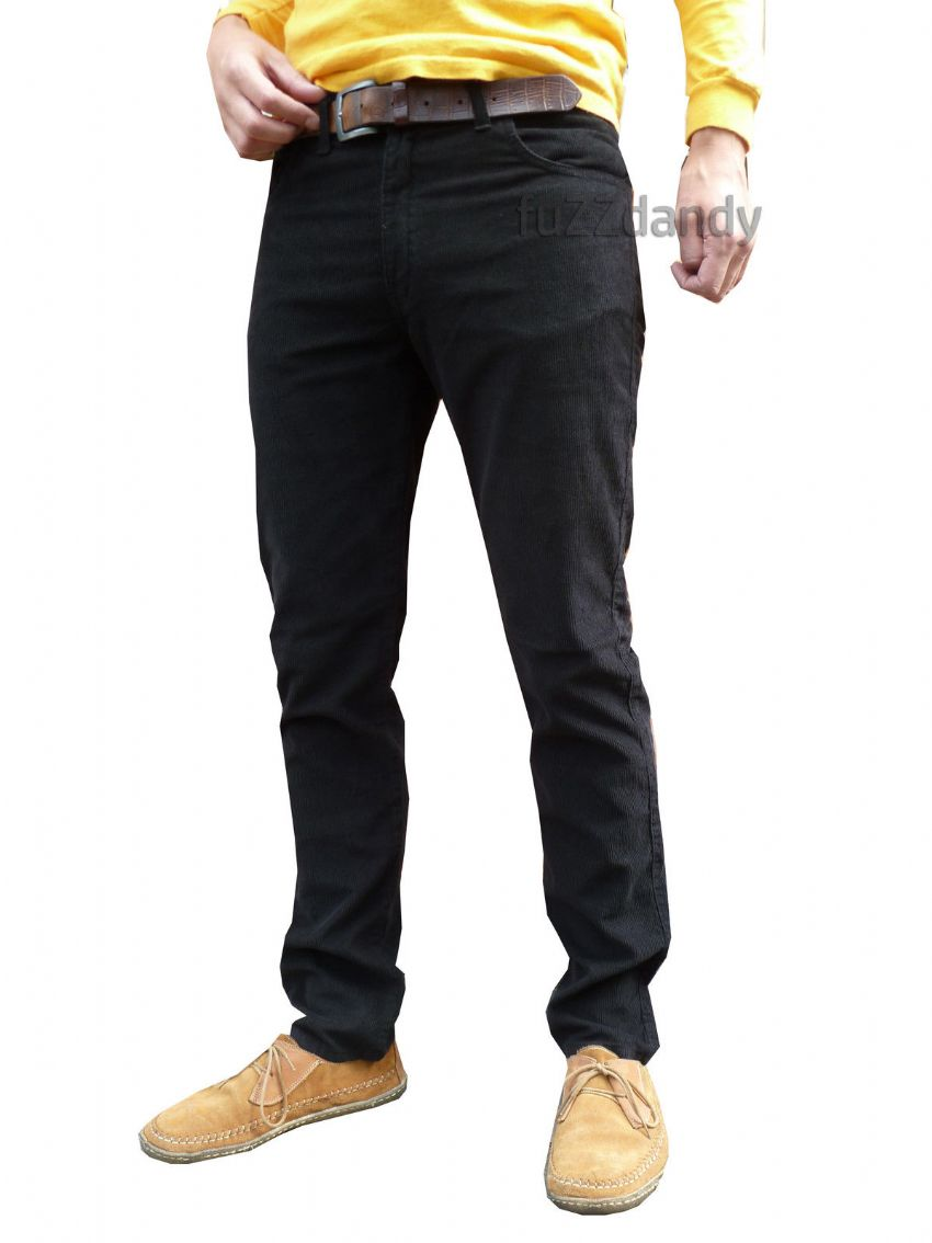 """Mondo"" Slim cords corduroy jeans pants trousers (Black)"